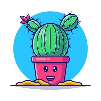 Illustrazione piana sveglia della pianta del cactus