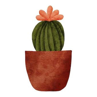 Illustrazione dipinta ad acquerello di pianta d'appartamento di cactus in vaso