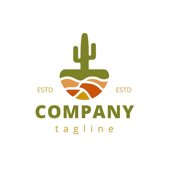 Cactus pot logo design