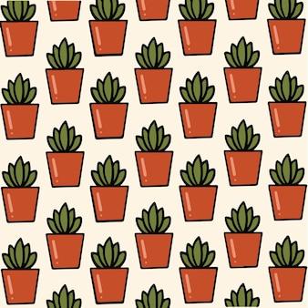 Cactus sanseviera pattern background illustrazione botanica di vettore
