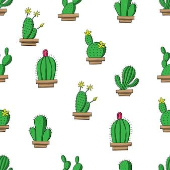 Illustrazioni e vettori del modello senza cuciture del cactus