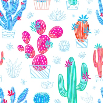 Il cactus senza cuciture succulente selvaggio fiorisce le raccolte luminose dell'acquerello variopinto. pianta da appartamento bellissimo modello alla moda su sfondo bianco. disegnato a mano.