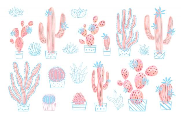 Collezioni di cactus succulenti fiori selvatici set colori pastello rosa acquerello.