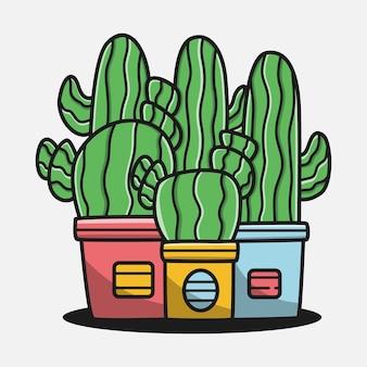 Illustrazione di progettazione di doodle del fumetto dell'albero di cactus