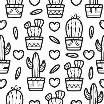 Disegno del modello di doodle del fumetto dell'albero di cactus