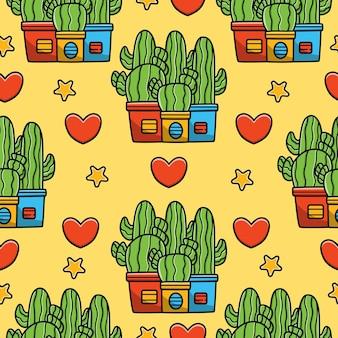Disegno senza cuciture del modello di scarabocchio del fumetto dell'albero di cactus