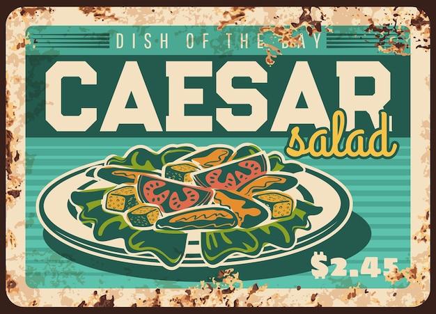 Piastra di metallo arrugginito insalata caesar, cartellino del prezzo per bar o ristorante