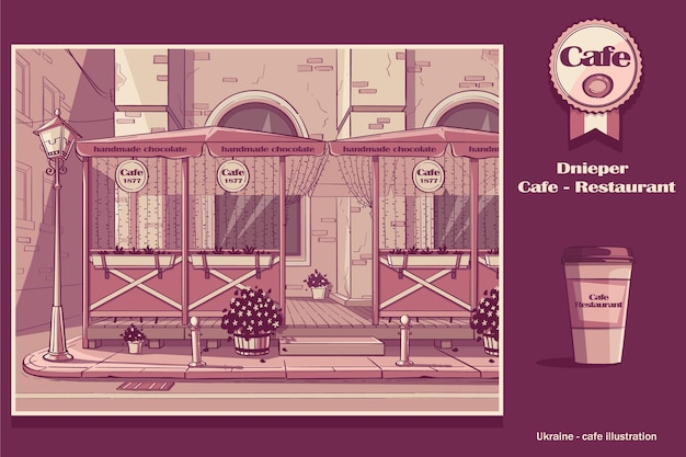 Caffè a dnipro, ucraina. immagine del caffè in colore rosa.