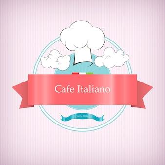 Icona del logo del caffè con toque tra le nuvole, nastro rosa con il nome del ristorante italiano su sfondo rosa, illustrazione vettoriale