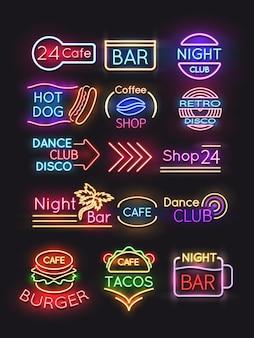 Set di segni al neon café