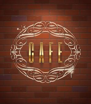 Segno dorato decorato del caffè sul muro di mattoni d'annata