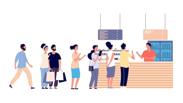 Coda di caffè. la gente aspetta il cibo, il ristorante di cibo di strada. insalata, uomini e donne hanno bisogno di cibo illustrazione vettoriale. le persone fanno la fila al ristorante o al bar, aspettano il cassiere