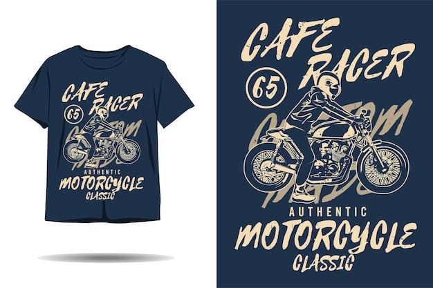 Cafe racer autentica motocicletta classica silhouette personalizzata tshirt design