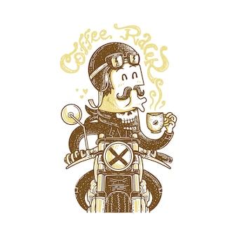 Cafe racer motociclista amore caffè illustrazione grafica arte tshirt design
