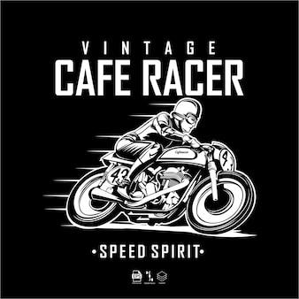Illustrazione di cafe racer in bianco e neroe