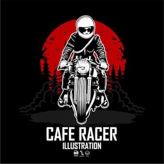 Illustrazione di un cafè racer con uno sfondo nero