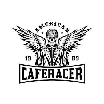 Emblema del distintivo dell'annata del motociclo di cafe racer
