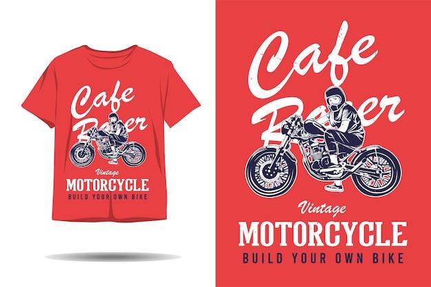 Moto d'epoca cafe racer costruisci il tuo design di tshirt con silhouette di bici