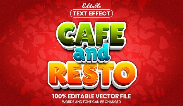 Testo cafe e resto, effetto testo modificabile in stile carattere
