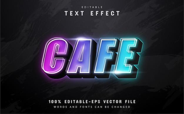 Testo cafe, effetto di testo 3d colorato in stile neon