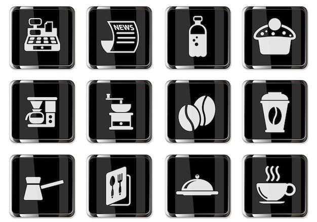 Pittogrammi della caffetteria nei pulsanti cromati neri. set di icone per il tuo design. icone vettoriali