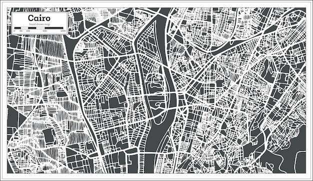 Mappa della città del cairo egitto in stile retrò. illustrazione di vettore. mappa di contorno.