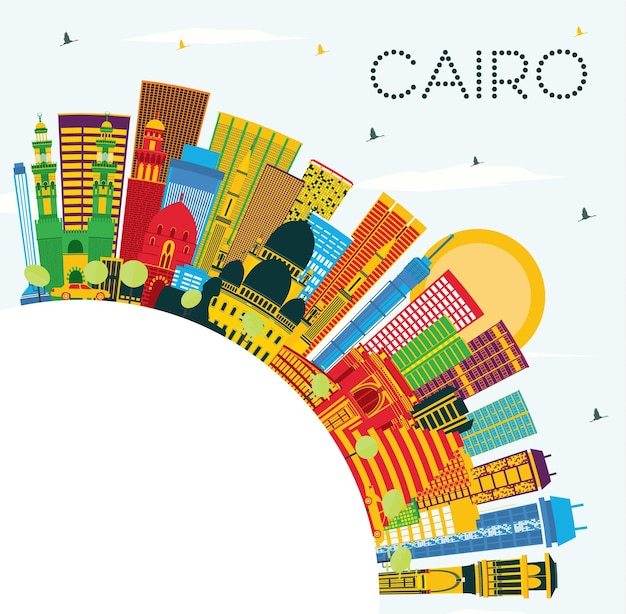 Il cairo egitto skyline della città con edifici di colore, cielo blu e spazio di copia. viaggi d'affari e concetto di turismo con edifici storici. paesaggio urbano del cairo con punti di riferimento.