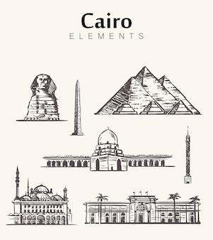 Paesaggio urbano di schizzo del cairo
