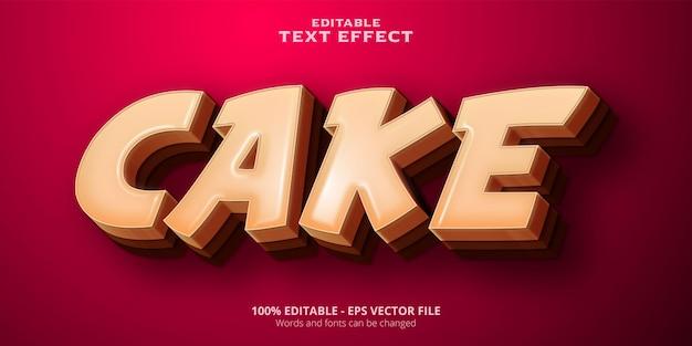 Effetto di testo modificabile in stile cartone animato torta Vettore Premium