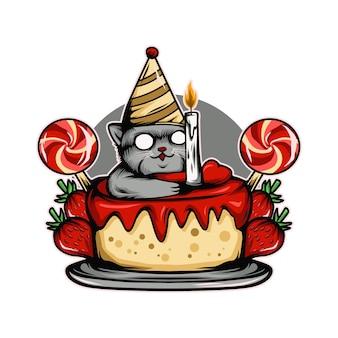 Torta gatto fragola illustrazione