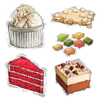 Illustrazione dell'acquerello di torta al cioccolato e nocciole e dessert gelato