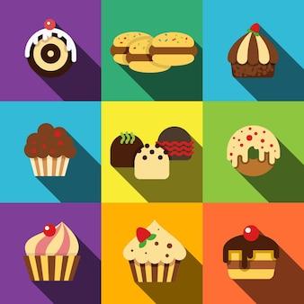 Le icone piane di torta impostano gli elementi, le icone modificabili, possono essere utilizzate nel logo, nell'interfaccia utente e nel web design