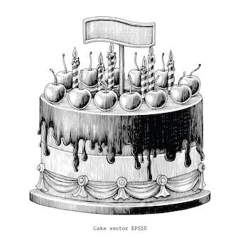 Annata del disegno della mano del dolce isolata su fondo bianco