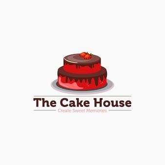 Il modello del logo della mascotte della torta della casa