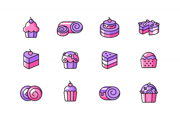 Set di icone di torta