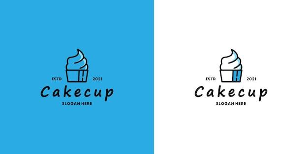 Negozio di vettore di disegno di logo di torta, ristorante di cibo culinario