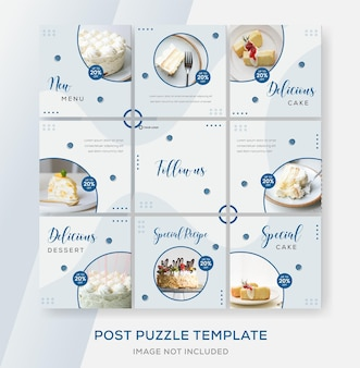 Modello di banner menu torta per social media social post premium vector