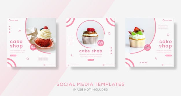Modelli di post sui social media per pasticceria