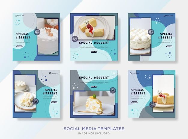 Modello di banner di raccolta di dolci di pasticceria per post sui social media.