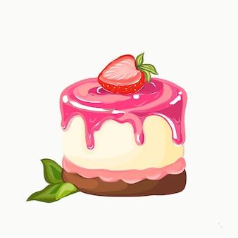 Torta con fragole isolato su uno sfondo bianco.