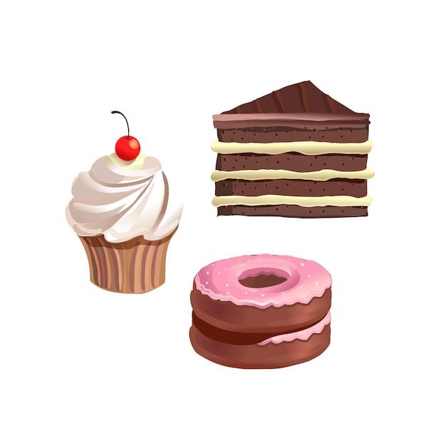 Torta di torte e ciambelle dolci insieme isolato