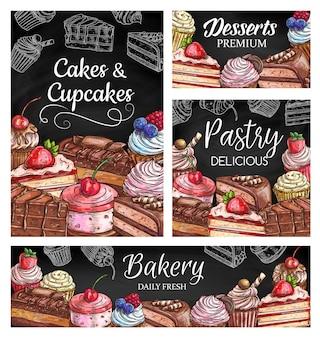 Poster di torte e cupcakes con pasticceria sktch