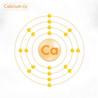 Calcio minerale oro. capsula lucida della pillola della goccia complesso minerale e vitaminico. osso di supplemento dietetico, concetto medico o sanitario.