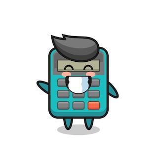 Personaggio dei cartoni animati della calcolatrice che fa il gesto della mano con l'onda, design in stile carino per maglietta, adesivo, elemento logo