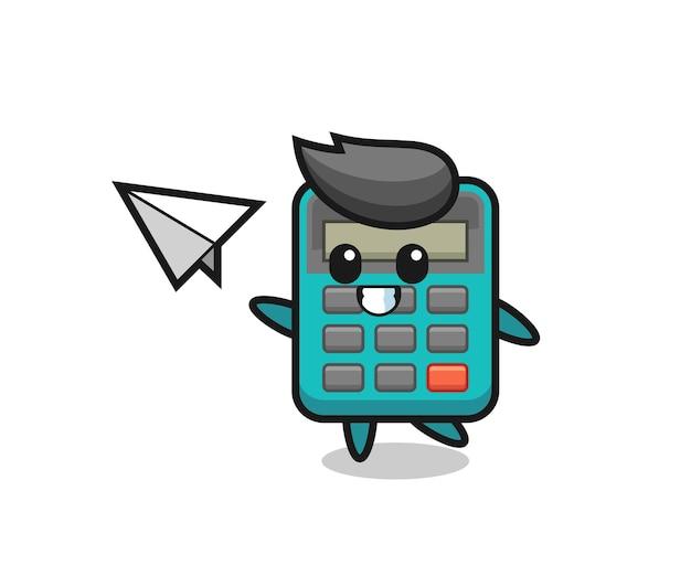 Personaggio dei cartoni animati calcolatrice che lancia aeroplano di carta, design in stile carino per maglietta, adesivo, elemento logo