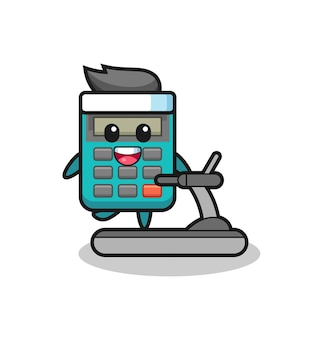 Personaggio dei cartoni animati calcolatrice che cammina sul tapis roulant, design in stile carino per maglietta, adesivo, elemento logo