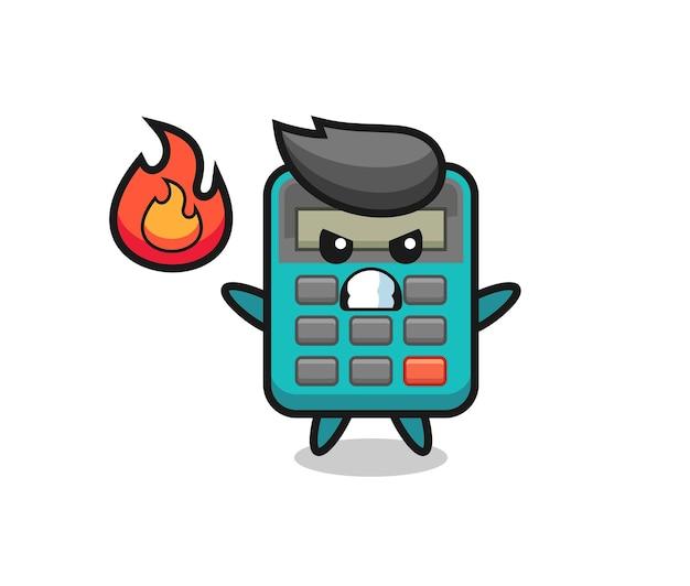 Cartone animato personaggio calcolatrice con gesto arrabbiato, design in stile carino per maglietta, adesivo, elemento logo Vettore Premium