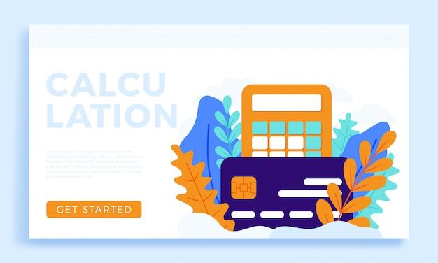 Illustrazione della carta di credito e del calcolatore isolata per la pagina di atterraggio.