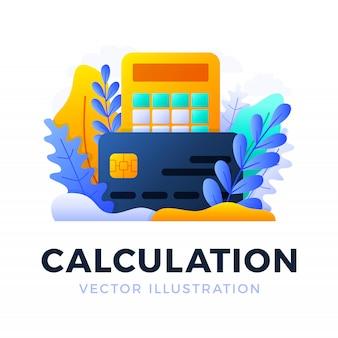 Illustrazione di vettore della carta di credito e del calcolatore isolata. il concetto di pagare le tasse, calcolare le spese e le entrate, pagare le bollette. facciata frontale della carta con calcolatrice.