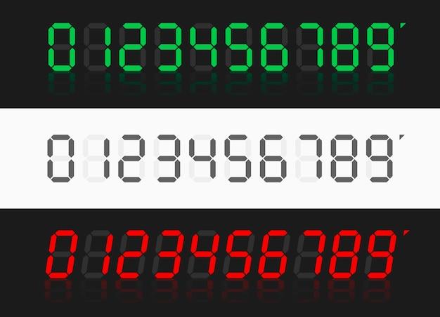 Numeri digitali calcolatrice. numeri dell'orologio digitale impostati.